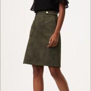 Army Green LOFT Micro Suede Mini Skirt